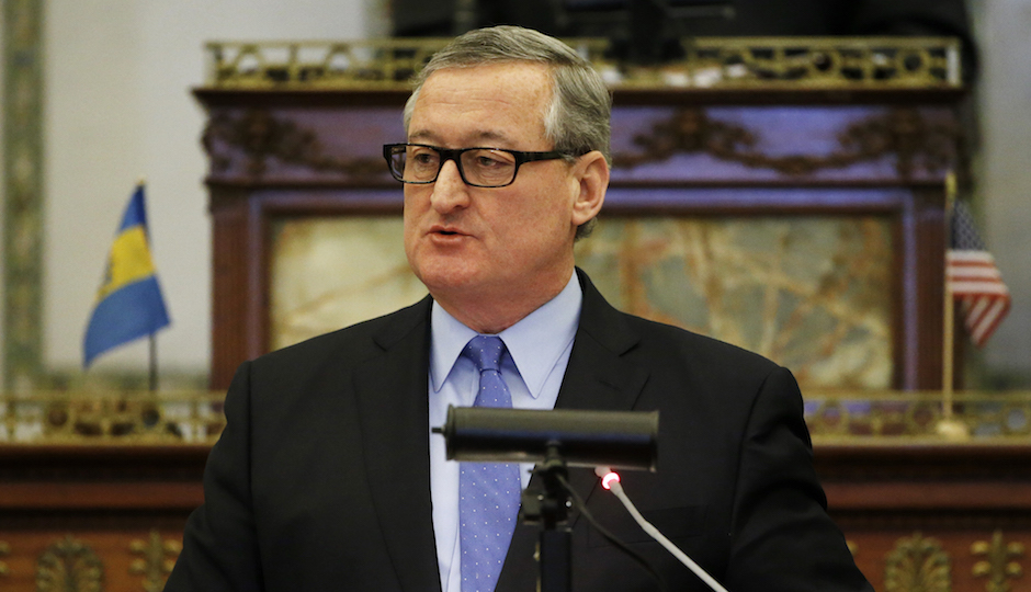 Mayor Jim Kenney delivers his budget address to city council Thursday, March 3, 2016, at City Hall in Philadelphia. Kenney is expected to ask for a soda tax to help fund several new initiatives including universal pre-K in his first budget address to city council. (AP Photo/Matt Rourke)
